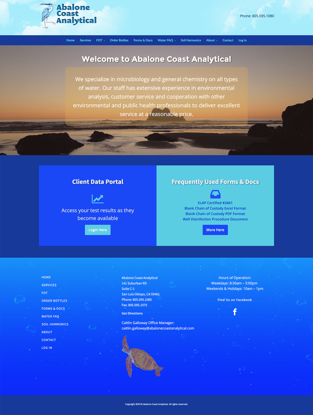 Custom WordPress Theme Design for Abalone Coast Analytical