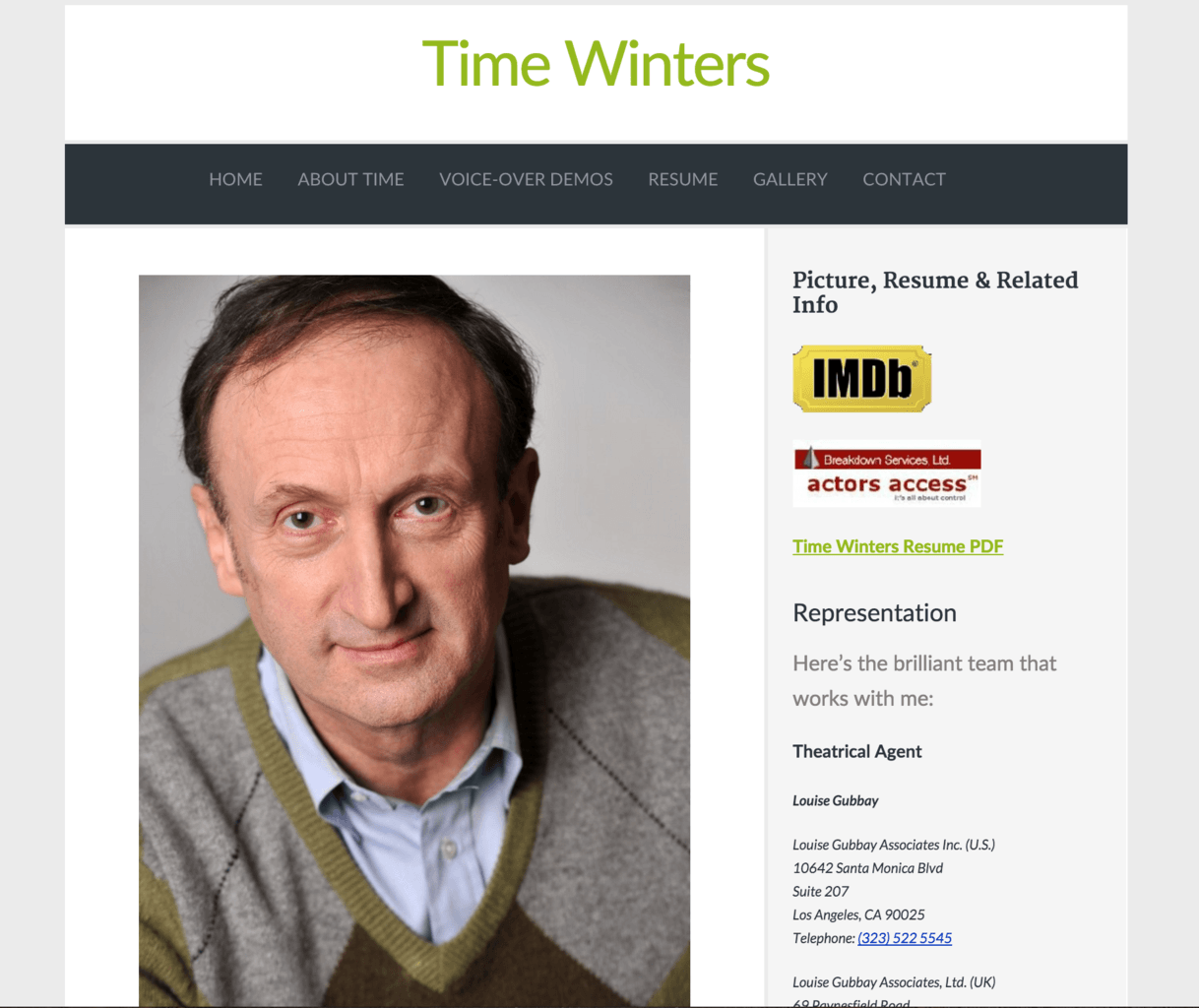 Site for Time Winters – Actor