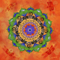 Dragonfly Mandala Digital Art by Beth Alexander